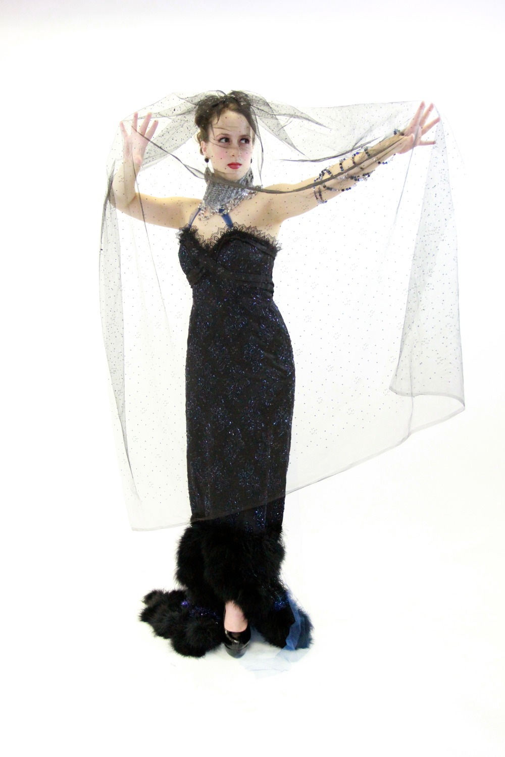 Opera Singer Holly Flack in her vintage couture j-na couture upcycle for Magic FLute Performance in English in Chicago.