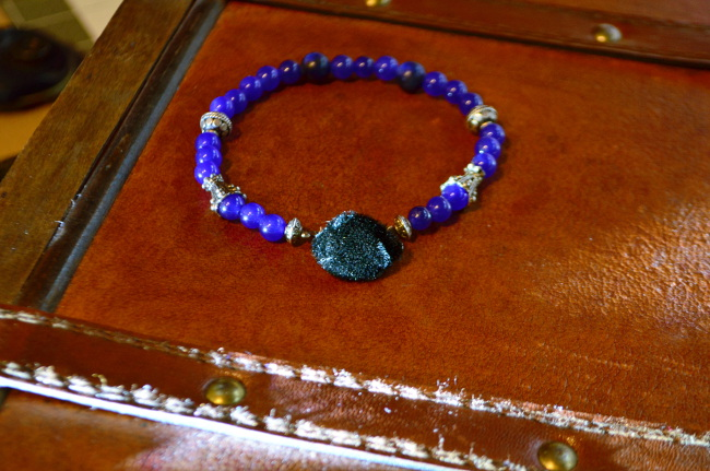 Mens Mediterranean Water Stone wearables Jior Couture Charity Bracelet. Click on photo to enlarge.
