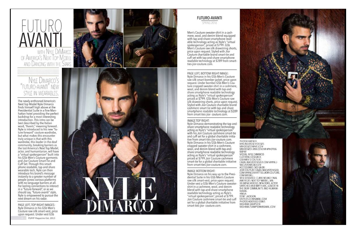 Nyle Dimarco in Pump Magazine for Jior Couture Smartwears for Charity in GSb Men's Couture.
