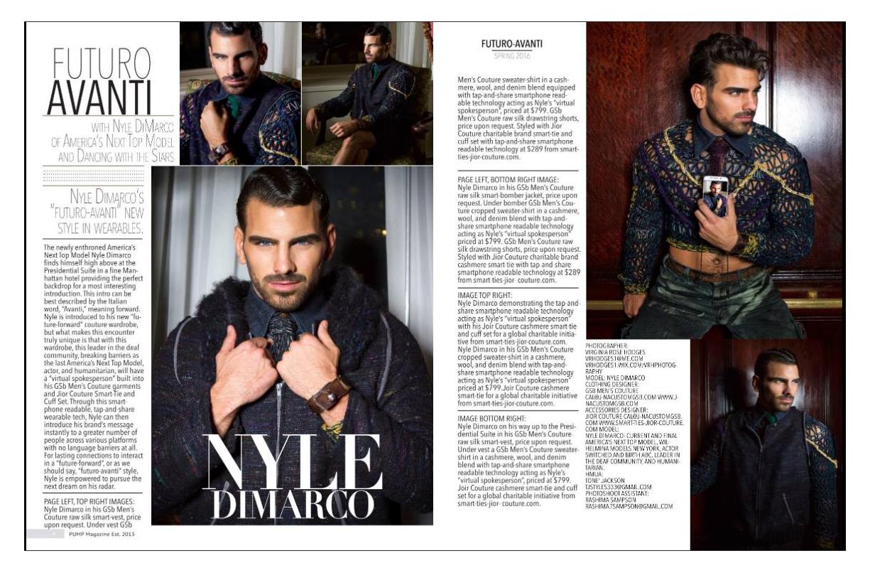 Nyle DiMarco en la Pump Magazine de Jior Couture Smartwears de la Caridad en las costuras de los hombres de GSB.