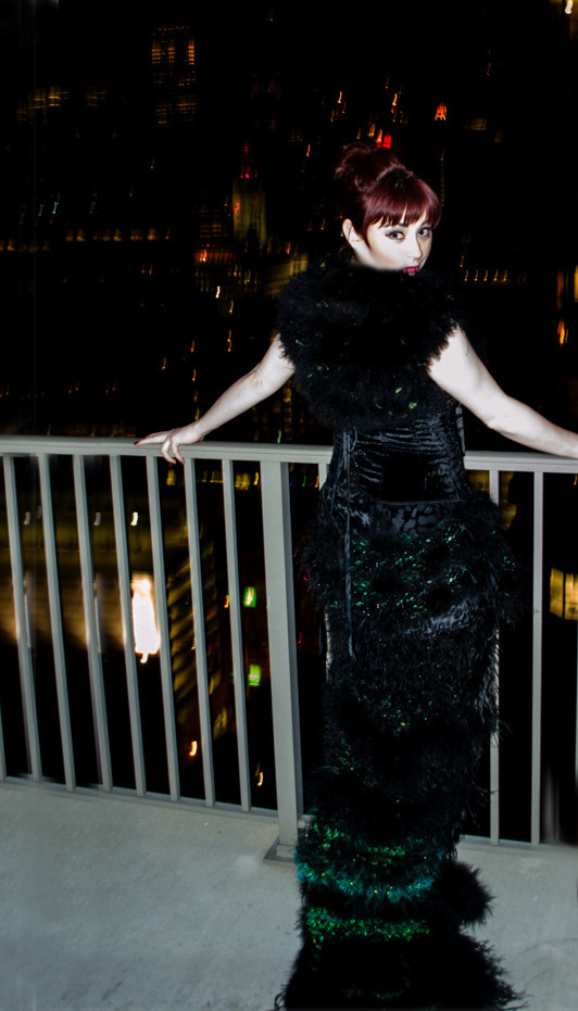 Erin McDougald Chicago Jazz Singer Critically and Nationally Acclaimed artist in j-na couture before Green Mill show.