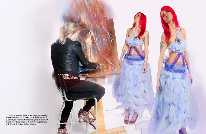 j-na couture dell'arte in lilla e giaciatti pastelli ghiacciate. Una nube di bellezza soffice contro uno stile punk rock.