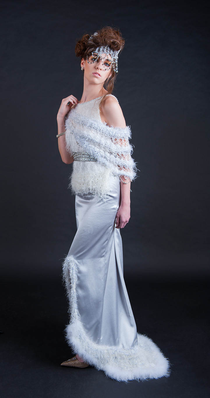 Deisgner Bridal Dresses with fur and wearable technology from j-na couture.