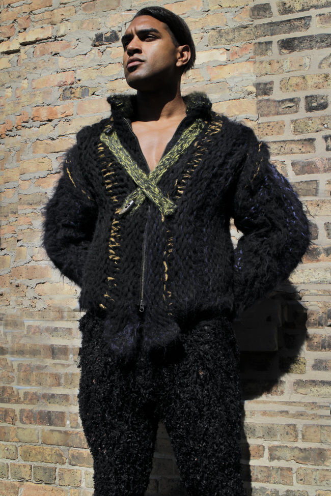 The savagery of Genghis meets the nobility of royalty, as the needed warmth is abundant through the winter along with exclusive couture style. GSb Men's Couture Alpaca and Wool hand knit coat.