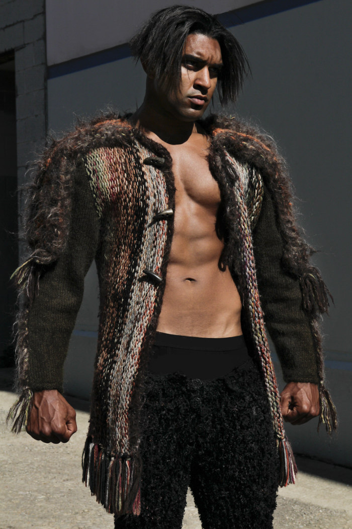 Wool and Alpaca Compassionate Hand Knit Coat inspired by Genghis Khan with Faux Mongolian Lamb silk and Chenille Meggings. The Fierce Toughness is now expressed outwardly.