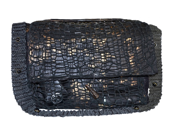 Men's Handbag Deerskin Mesh pockets and hemp handle. Camouflage Gold and black.