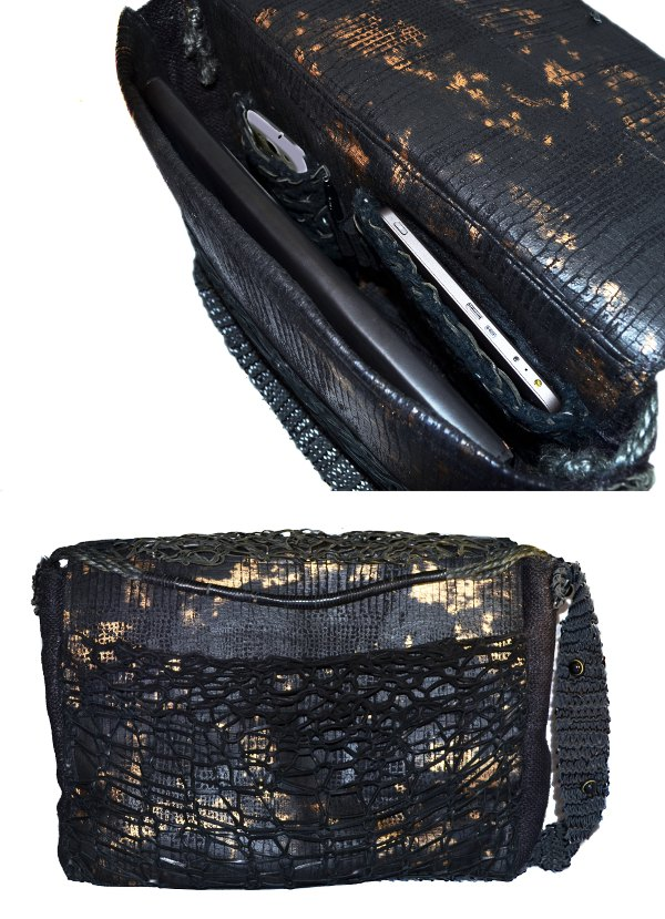 Men's Handbag Deerskin Mesh pockets and hemp handle. Camouflage Gold and black