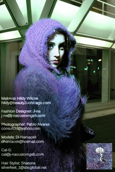 Princess Headdress/wrap with purple royal fur mohair  coat