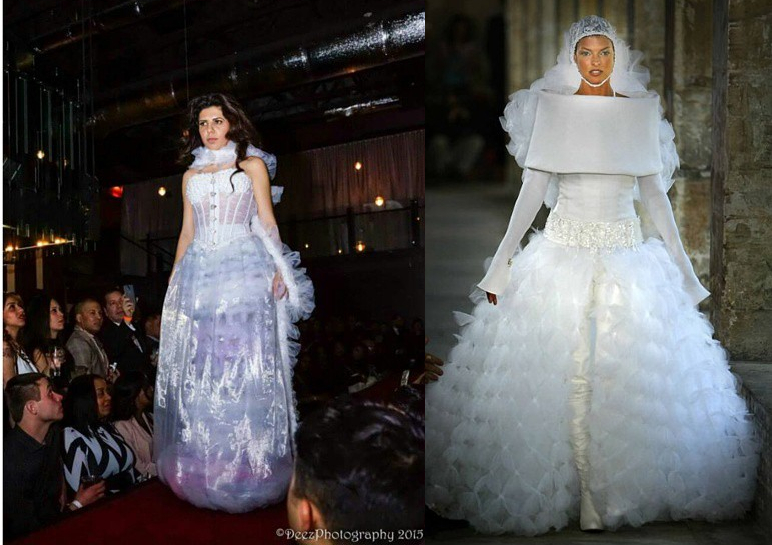 Linda Bautizta in Chanel Couture e Galina Todorva in abiti da sposa couture in tulle intrecciati J-na Couture. Per la pagina dei momenti iconici nella storia delle spose.