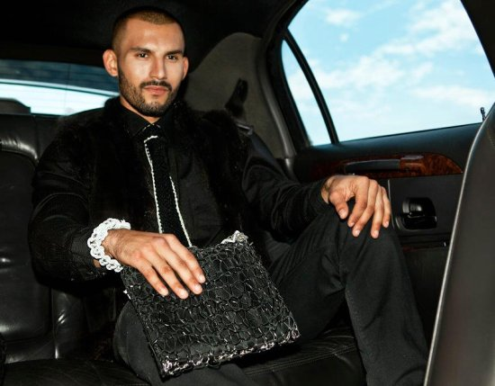 mens couture Ipad case in goats leather and silver.