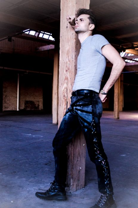 Lace-up Eco-Couture Jeans that Rock recycled Materials and Sustainable Fashion. Designed and Modeled my Cal G.