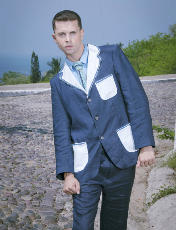 couture suit GSb 2012 spring summer linen suit with fur fringe smokers jacket dual color suit.