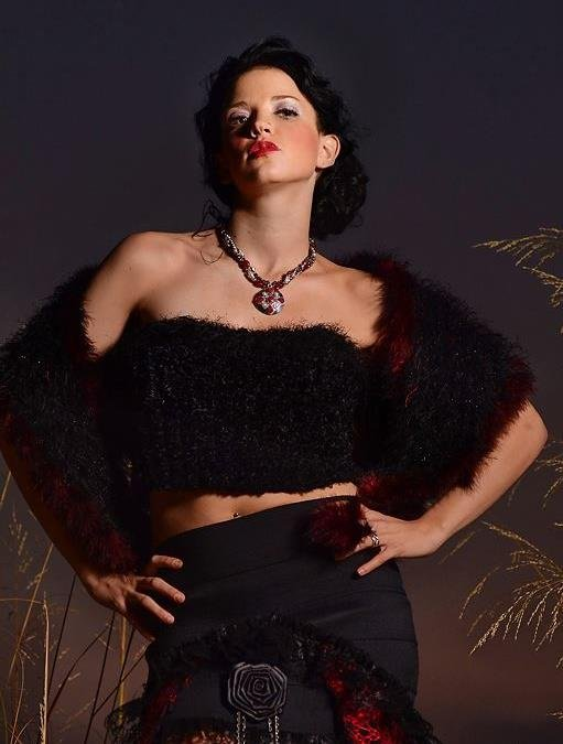 Fur and feather fashionwrap couture