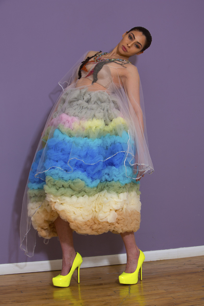 A dream like memorable red carpet entrance to a film premier and Music Awards Gala. Pop art in hand woven tulle.