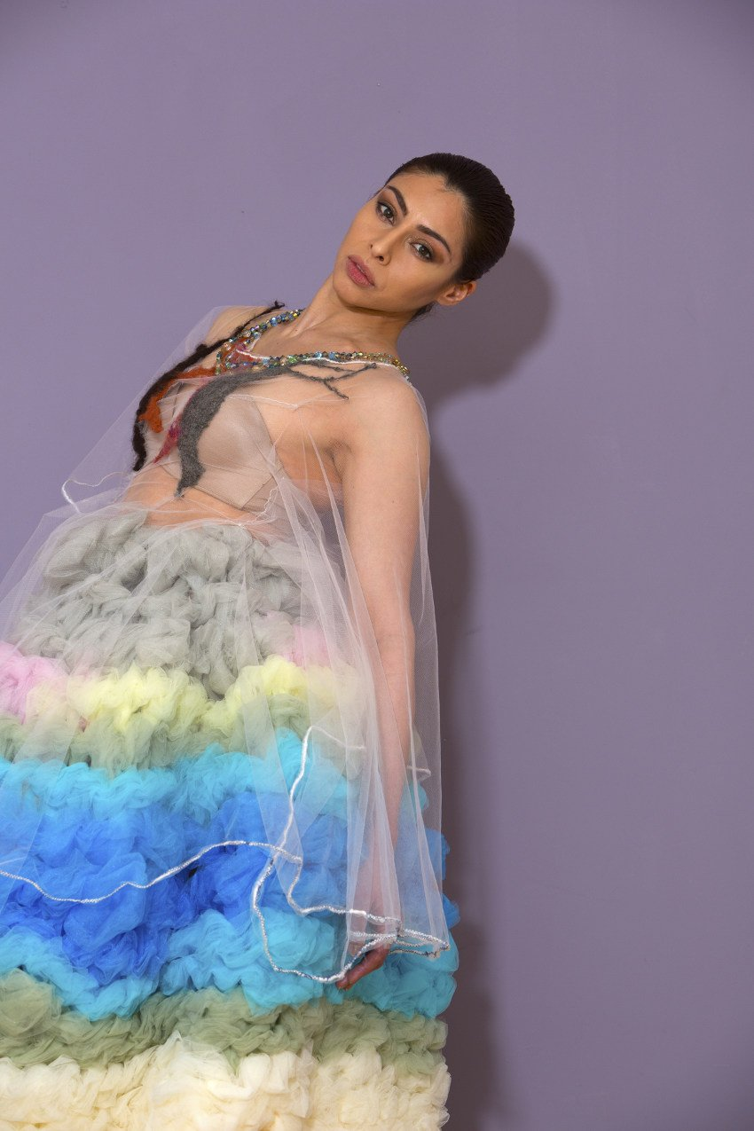 j-na couture in glorious tulle pastel graduated ombre, and sheer with alpaca and Swarovski embroidery.