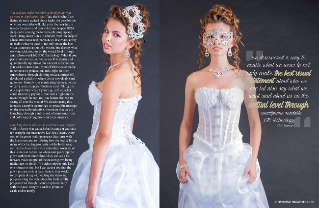 Wearable Technology Designer Wedding Dresses by j-na couture. Exclusive interview with Obscurea Magazine.