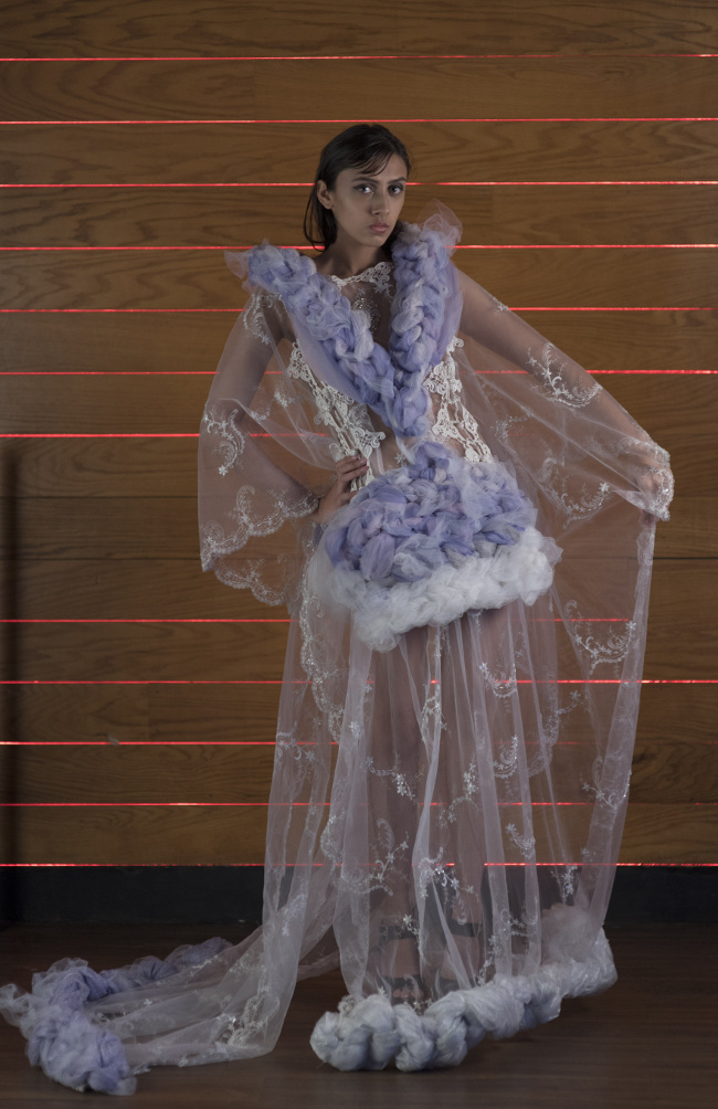J-na Couture Wedding Gowns woven and wraped tulle princess styling in a lilac boquet. By request only.