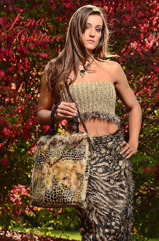 Women's faux fur Animal Print Handbag Custom Bag silk Lining.
