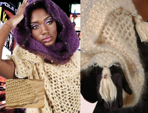 fashion wrap mohair dripping in pearl fashion accessory.