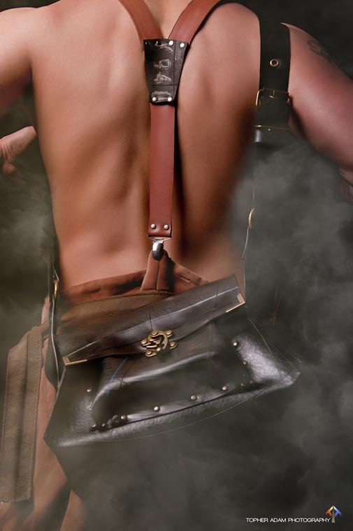 Steampunk mens messenger bag and suspenders from Danish designer Tanja Shroeder.
