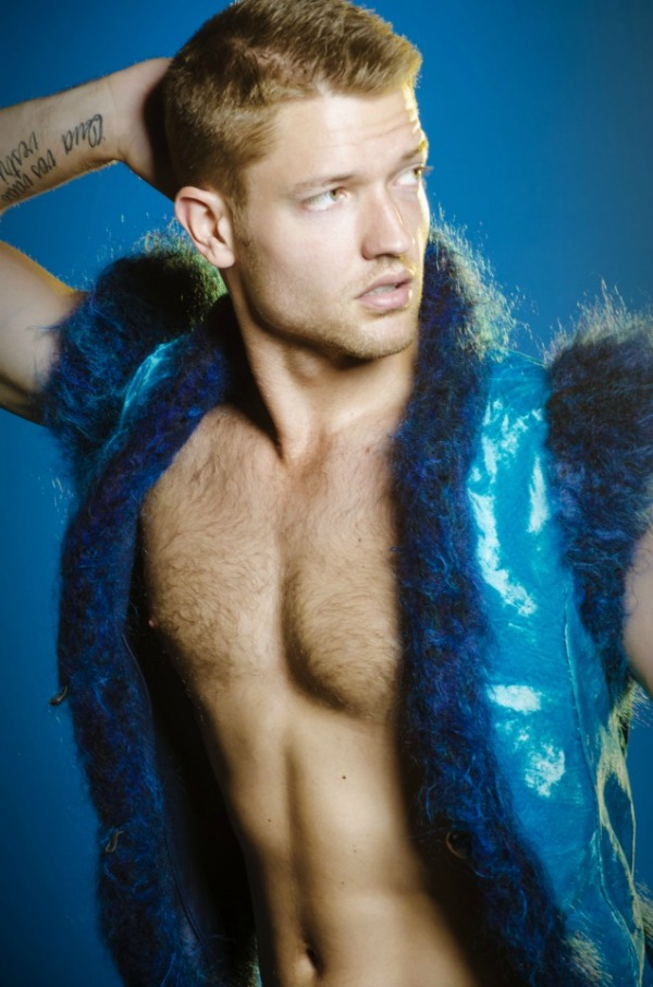 Ronnie Kroell in GSb Men's Couture Fall 2012 Collection Fur Vest, Velvet, and Leather.